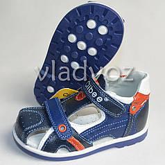 Детские босоножки сандалии для мальчика кожа синие 20р. Clibee