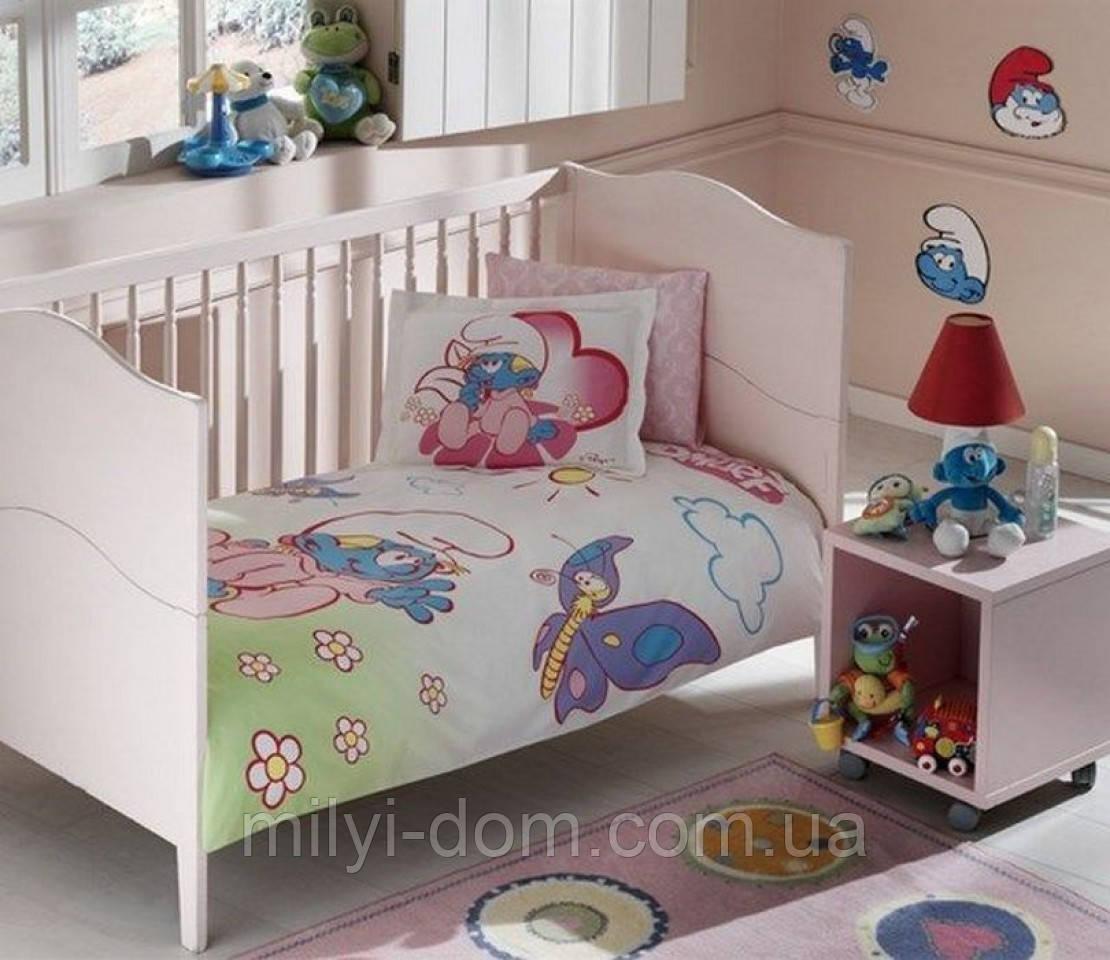 Постельное белье для новорожденных ТАС Смурфики Sirinler Baby Girl -