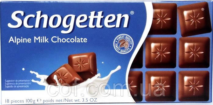 Шоколад молочный Schogetten Alpine Milk Chocolate (Шогеттен Альпийское молоко) 100г (Германия)