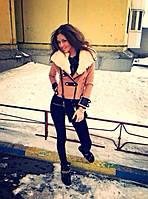 Пальто женское ткань Кашемир + подкладка Мех искусственный Бежевый, черный ля № хип-хоп