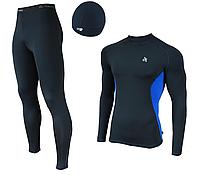 Мужской спортивный костюм для бега Radical Intensive(original) компрессионная спортивная одежда,тайтсы+рашгард Мужской, XXL, Темно-синий