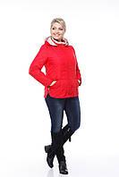 Красная короткая куртка больших размеров весенняя 50,52,54,56,58,60