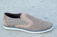 Туфли, мокасины мужские натуральная кожа, джинс летние хаки. Экономия 355грн 44