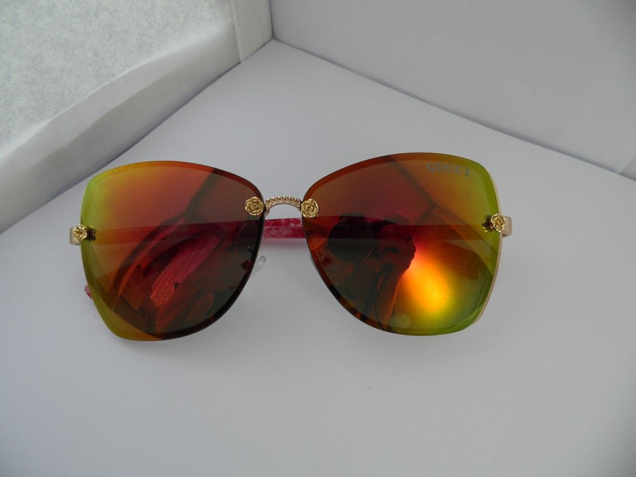 Солнцезащитные очки Gucci красно-оранжевые с красными дужками - OnlyBest - лучшее только для Вас в Виннице