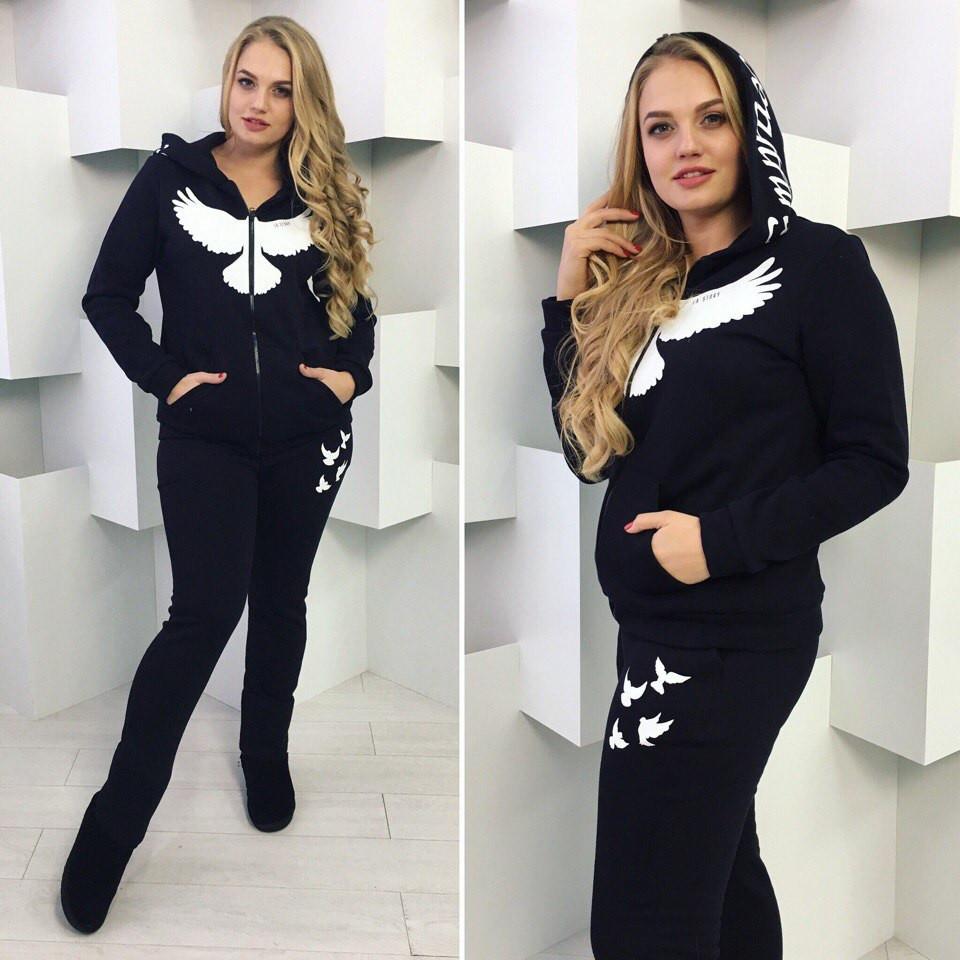 Спортивный женский костюм (батал) ткань  турецкая трехнитка (с начесом-флис)  , роле № 5013 bb0704427ea