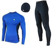 Мужской спортивный костюм для бега Radical Intensive(original) компрессионная спортивная одежда,тайтсы+рашгард Мужской, XXL, Голубой