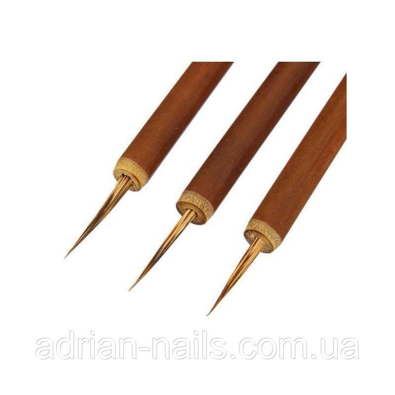 Кисть натуральная с бамбуковой ручкой для росписи и дизайна ногтей #00