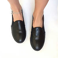 Стильные женские комфортные туфли из натуральной турецкой кожи 2.5, Без застежки, Черный