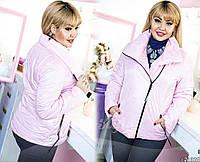 Стильная женская стеганая куртка-косуха батал