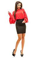 Платье женское короткое,  Бенгалин + дайвинг верх - красный, молоко юбка - черный фото реал ля № луи