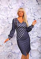 Платье ткань кукуруза. цвета  серая клетка, серый горошек, джинсовая клетка,джинсовый горошек.апро № 1020