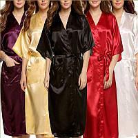 Женский халат из атласа длинный