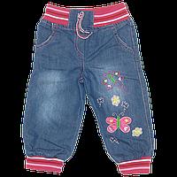 Детские джинсы с трикотажными манжетами и поясом, с вышивкой, Турция, ТМ Ромашка, р.86, 92, 98, 104, 110