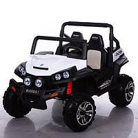 Детский электромобиль джип внедорожник M 3454 EBLR-1 белый с 4-мя моторами и кожаным сиденьем ***