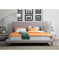 """Двоспальне ліжко """"Light"""" 160*200 з м'яким узголів'ям, на дерев'яних ніжках"""