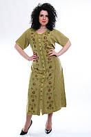 Платье - халат с рукавом оливковое, на 54-56 размеры