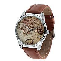 Часы наручные Карта для путешественников коричневые