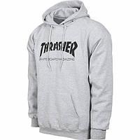 Толстовка серая с принтом Thrasher   лого трэшер худи