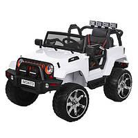 Детский электромобиль джип внедорожник  M 3470 EBLR-1 белый Ева колеса и кожа сиденья ***