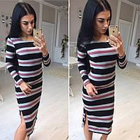 Платье женское облегающее, материал вязанная резинка, 3 расцветки ,хорошее качество втет № 03941