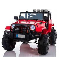 Детский электромобиль джип внедорожник  M 3470 EBLR-3 красный  Ева колеса и кожа сиденья ***