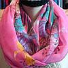 Снуд хомут шифон розового цвета с цветами , фото 2