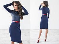 Платье женское Ткань: экокожа+дайвинг. Пояс в комплекте., 2 цвета па № 1043