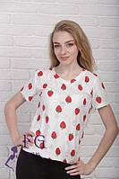 Женская летняя футболка свободного кроя с изображением клубники