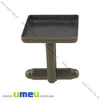 Основа для запонок под заливку 16х16 мм, 20х17 мм, Античная бронза, 2 шт (OSN-019997)