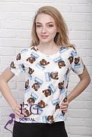 Женская футболка на лето с веселым рисунком медведей