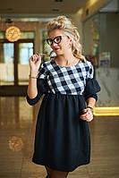 Платье женское свободного кроя, ткань Ткань: Креп, фланель (клетка) , длина 86-87 см, фото реал ,бис №7621
