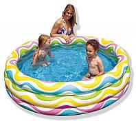 Бассейн надувной детский Интекс 58449 Волночки, 3 кольца, 168х41см, вместительность 630л, винил, 2,2кг