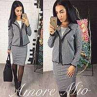 Костюм женский двойка, пиджак и юбка, ткань джерси, 3 расцветки ,хорошее качество сстил № 212