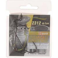 Крючки офсетные Cobra L-WORM сер.2312NSB разм.001 3шт.