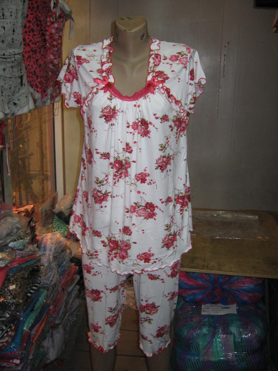 64faca65fd2 Пижама футболка и капри Батал Blue Night Бамбук   продажа