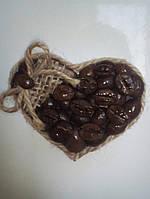 Кофейный магнитик на холодильник (Handmade)-Сердце1(7.5х7 см)