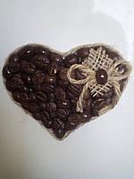 Кофейный магнитик на холодильник (Handmade)-Сердце большое(10х9 см)