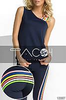 Спортнывный костюм: майка и леггинсы с оригинальными яркими полосками.