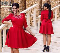 Платье батал Ткань - трикотаж, Цвет нефритовый,тёмно-красный, Отделка-камни DMC дг№783
