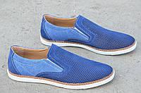 Туфли, мокасины мужские натуральная кожа, джинс летние синие 2017. Со скидкой
