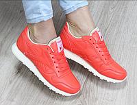 Кроссовки кожаные Reebok коралловые