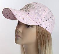 Женская бейсболка розовая ромашки с крупными камнями