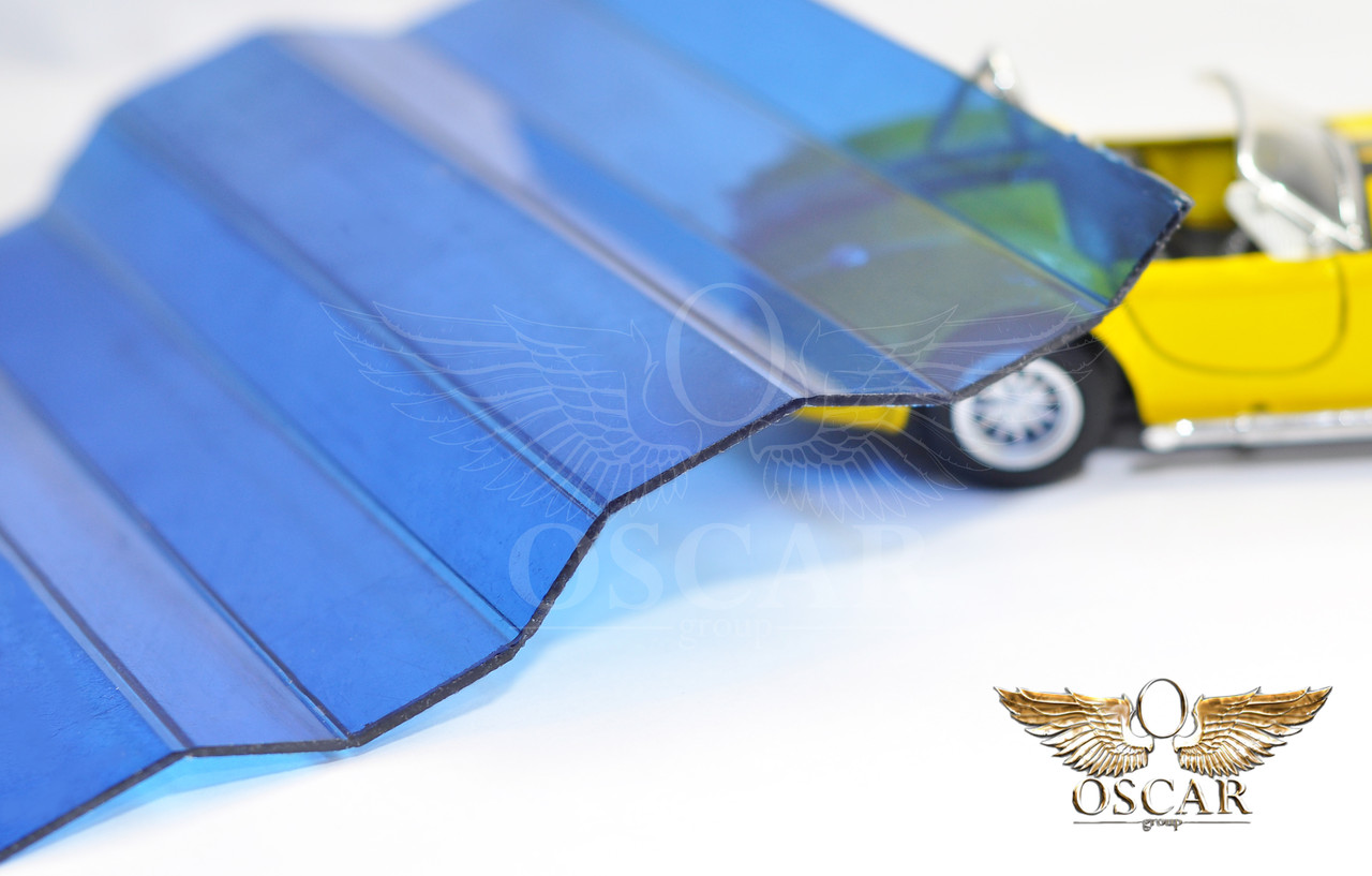 Профилированный монолитный поликарбонат ТМ Borrex 0.8мм 105х200см синий