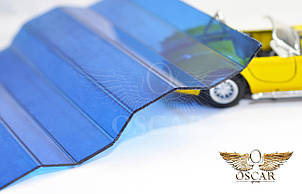 Градостойкий Профилированный монолитный поликарбонат ТМ Borrex 0.8мм 105х300см синий