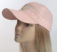 Женская бейсболка розовая, мелкий цветочный принт с крупными камнями