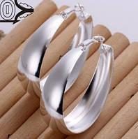 Большие серебренные серьги  груша широкие 925