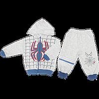 Детский спортивный костюм (теплый): кофта на молнии с капюшоном, штаны, плотный трикотаж, Турция, р. 74, 80