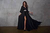 Платье вечернее.длинное , Кристалл Фламинго, электрик, черный На поясе украшение с камнями ля № 5910