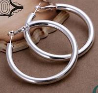 Большие серебренные серьги широкие кольца 925