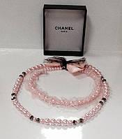 Бусы бренд розовый жемчуг LUX копия